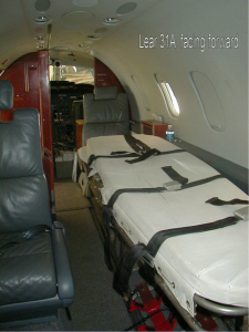 Interior of Lear Jet 31A for Aeromedical Service, facing cockpit