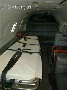 Interior of Lear Jet 31A for Aeromedical Service, facing rear