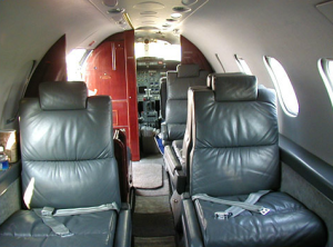 Interior of Lear Jet 31A, facing cockpit
