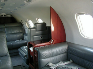 Interior of Lear Jet 31A provision station, facing rear