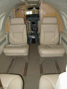 Forward facing interior of Lear Jet 31