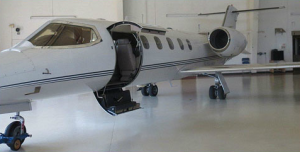 Lear Jet 31A parked in hanger